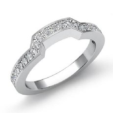 Pave Diamond Women's Half Wedding Band Matching Set Ring Platinum 950  (0.5Ct. tw.)