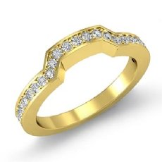 Pave Diamond Women's Half Wedding Band Matching Set Ring 14k Gold Yellow  (0.5Ct. tw.)