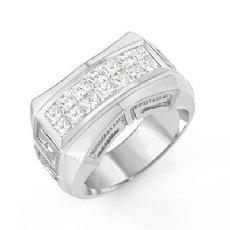1.85 Ct Princess Cut Men Diamond Ring Fashion Band W Gold