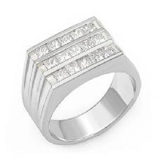 2.25 CT Princess Cut Men Diamond Ring Fashion Band W Gold