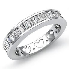 Channel Baguette Diamond Womens Half Wedding Heart Band Ring 14k White Gold 1Ct