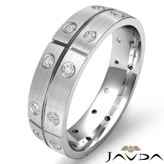 Eternity Wedding Band Round Bezel Diamond Mens Dome Ring Platinum 950 0.26Ct