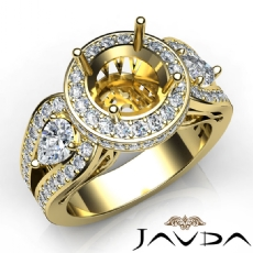3 Stone Round Diamond Vintage style Engagement Halo Ring Set 18k Gold Yellow Semi-Mount  (1.85Ct. tw.)