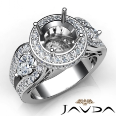 3 Stone Round Diamond Vintage style Engagement Halo Ring Set 14K White Gold Semi-Mount 1.85Ct