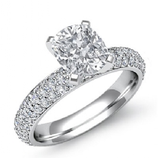 Eternity Pave Setting Cushion diamond engagement Ring in 14k Gold White