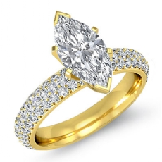 3 Row Micro Pave Set Shank Marquise diamond  Ring in 14k Gold Yellow