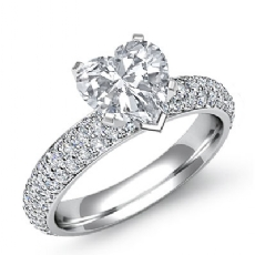 Eternity Pave Setting Heart diamond engagement Ring in 14k Gold White