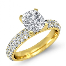Eternity Pave Setting Cushion diamond engagement Ring in 14k Gold Yellow
