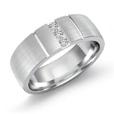 Vertical Groove Matte Diamond Men's Half Wedding Band in 14k White Gold 0.15 Ct