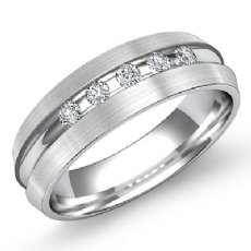 Matte Finish 0.20 Carat 5 Round Diamond Men's Half Wedding Band 14k White Gold