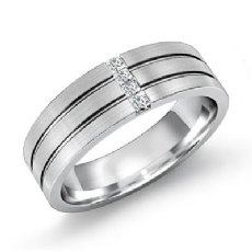 Parallel Grooves Channel Diamond Men's Half Wedding Band 14k White Gold 0.15 Ct