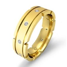 Grooved Bezel Diamond Matte Men's Eternity Wedding Band 14k Gold Yellow  (0.21Ct. tw.)