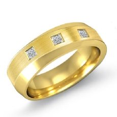 Diagonal Matte Finish Diamond Men's Half Wedding Band 14k Gold Yellow  (0.25Ct. tw.)