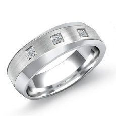 Diagonal Matte Finish Diamond Men's Half Wedding Band 14k White Gold 0.25 Ct