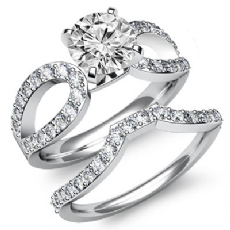 Split Curve Shank Bridal Set Round diamond engagement Ring in 14k Gold White