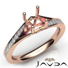 Pave Setting Diamond Engagement Cushion Semi Mount Ring 18k Rose Gold  (0.35Ct. tw.)