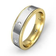 Parallel Grooves Diamond Eternity Men's Wedding Band 14k Two Tone Gold 0.16 Ct