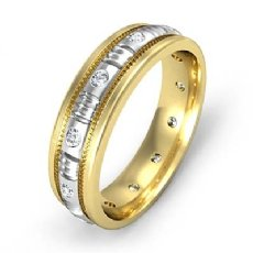 Round Edge Men's Bezel Diamond Eternity Wedding Band 14k Two Tone Gold 0.25 Ct