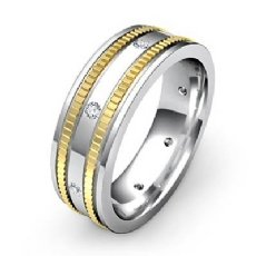 0.16 Ct Bezel Men's Diamond Eternity Wedding Band Designer Edges 14k 2 Tone Gold