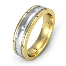 Center Dome Men's Bezel Diamond Eternity Wedding Band 14k 2 Tone Gold 0.16 Ct
