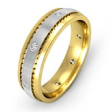 Men's Diamond Eternity Wedding Band Matte Bezel Set 14k 2 Tone Gold 0.16 Ct
