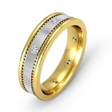Brushed Bezel Set Men's Diamond Eternity Wedding Band 14k 2 Tone Gold 0.16 Ct