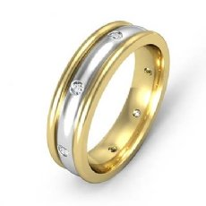 Men's Diamond Eternity Dome Wedding Band Bezel Set 14k 2 Tone Gold 0.16 Ct
