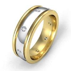 Dome Bezel Set Men's Diamond Eternity Wedding Band 14k 2 Tone Gold 0.16 Ct