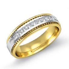 Channel Set Diamond Men's Half Wedding Band Round Edges 14k 2 Tone Gold 0.20 Ct