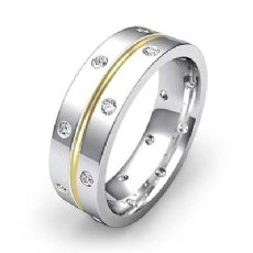 Polish Finish Bezel Diamond Eternity Men's Wedding Band 14k 2 Tone Gold 0.35 Ct