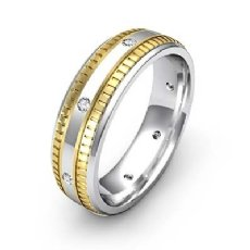 Ribbed Edges Diamond Eternity Men's Wedding Band 14k 2 Tone Gold 0.16 Ct