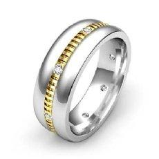 Dome Vertical Cuts Men's Diamond Eternity Wedding Band 14k 2 Tone Gold 0.16 Ct