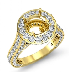 Diamond Engagement Round Semi Mount Halo Pave Setting Ring 14k Gold Yellow (2.1Ct. tw.)