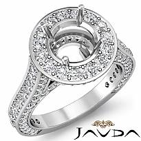 Diamond Engagement Round Semi Mount Halo Pave Setting Ring Platinum 950 (2.1Ct. tw.)