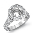 2.1Ct Diamond Engagement Round Semi Mount Halo Pave Setting Ring 14k White Gold - javda.com