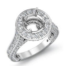 2.1Ct Diamond Engagement Round Semi Mount Halo Pave Setting Ring 14k White Gold