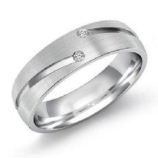 Matte Finish Bezel 2 Diamond Eternity Men's Wedding Band 14k White Gold 0.26 Ct