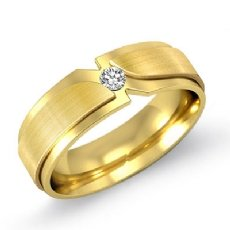 Matte & Polish Double Layer Men's Diamond Half Wedding Band 14k Gold Yellow  (0.1Ct. tw.)