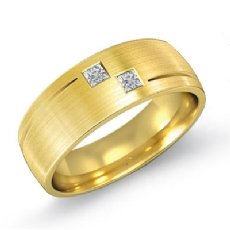 2 Stone Matte Finish Diamond Men's Half Wedding Band in 14k Gold Yellow  (0.25Ct. tw.)