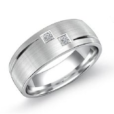2 Stone Matte Finish Diamond Men's Half Wedding Band in 14k White Gold 0.25 Ct