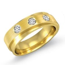3 Stone Double Layer Diamond Men's Half Wedding Band in 14k Gold Yellow  (0.35Ct. tw.)