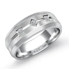 3 Stone Kite Set Princess Diamond Men's Half Wedding Band 14k White Gold 0.21 Ct