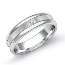 0.15 Ct Men's Diamond Wedding Band 14k White Gold Matte Center Polish Edges