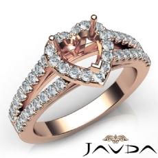 Gorgeous Halo Prong Diamond Engagement Heart Semi Mount Ring 18k Rose Gold  (0.75Ct. tw.)