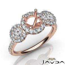3 Stone Diamond Engagement Round Semi Mount Setting Ring 18k Rose Gold  (1Ct. tw.)
