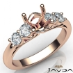 5 Stone Prong Setting Diamond Engagement Round Semi Mount Ring 14k Rose Gold 0.5Ct - javda.com