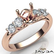 5 Stone Prong Setting Diamond Engagement Round Semi Mount Ring 18k Rose Gold  (0.5Ct. tw.)