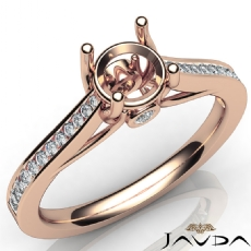 Channel Setting Diamond Engagement Round Semi Mount Ring 18k Rose Gold  (0.3Ct. tw.)