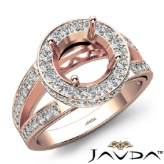Round Semi Mount Diamond Engagement Halo Pave Setting Ring 18k Rose Gold  (0.76Ct. tw.)