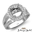 Round Semi Mount Diamond Engagement Halo Pave Setting Ring 14k White Gold 0.76Ct - javda.com